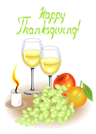 Thanksgiving Day. Two glasses of white wine and a candle. Vintage fruits, apple, grapes and orange. Vector illustration. Banque d'images - 122651764