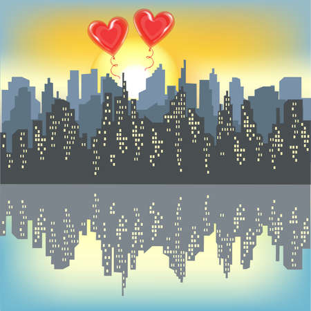 Two red gel balls on a silhouette of a big city. Bright morning sky. Rising Sun. The city is reflected in the water. Vector illustration.