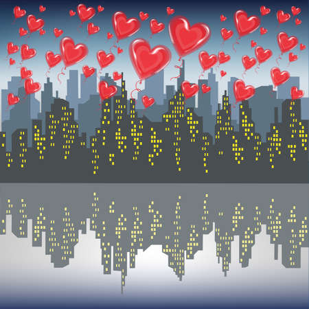 A lot of red gel balls fly against the silhouette of a big city. Bright morning sky. Lovers celebrating Valentines Day Vector illustration.