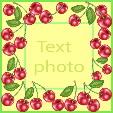 Original frame for photos and text. Sweet juicy cherry berries create a festive mood. A perfect gift for children and adults. Vector illustration Illustration