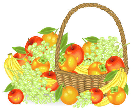 Thanksgiving. Collected a generous harvest. In the basket are apples, bananas, grapes, persimmons and oranges. Fresh beautiful fruits. Vector illustration.  イラスト・ベクター素材