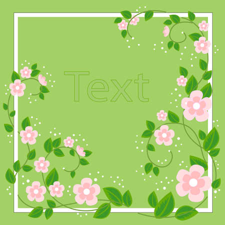 Beautiful frame for photography and text. Delicate rosewood flowers. Spring background. vector illustration.