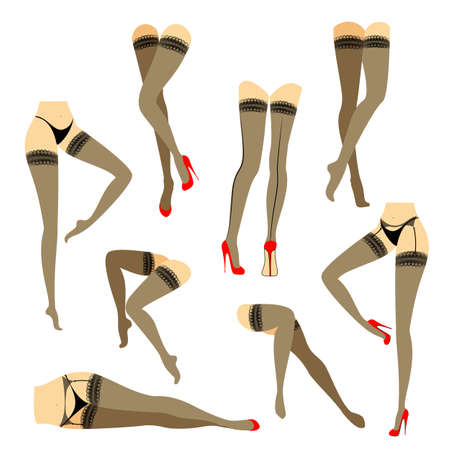 Collection. Silhouette of slender beautiful female legs. The lady is in different poses. Girls dressed in fashionable stockings and shod in red high-heeled shoes. Vector illustration set.