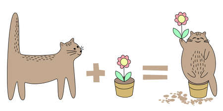 Cat goes to play with a pot. Flower in a pot. Then the animal sits in a pot, tears a flower. Pet happy smiling. Vector illustration.