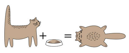 The cat is eating a plate. The animal becomes fat and happy. The pet lies and smiles. Vector illustration. Vettoriali