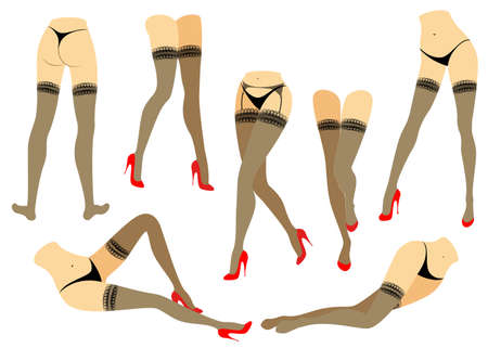 Collection. Silhouette of slender beautiful female legs. The lady is in different poses. Girls dressed in fashionable stockings and shod in red high-heeled shoes. Vector illustration set. Vector Illustration
