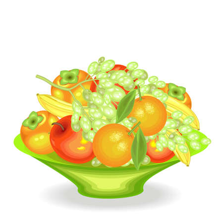 Ripe fresh fruit on a platter. Delicious juicy bananas, persimmons, oranges, apples, grapes. The source of vitamins and trace elements. Vector illustration. Illustration