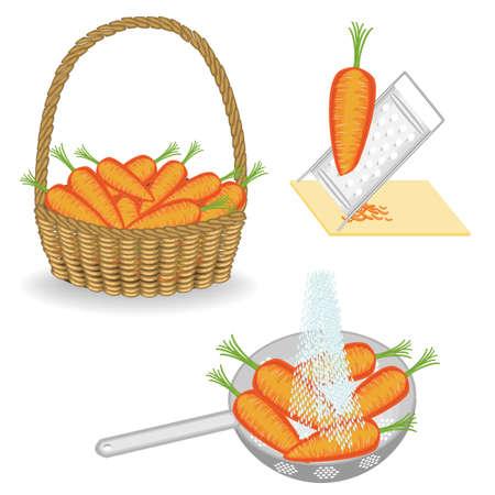 Colección. Las zanahorias vintage se almacenan en una canasta. Las verduras se lavan en un colador bajo un chorro de agua, la yesca en un rallador. Conjunto de ilustración vectorial. Ilustración de vector