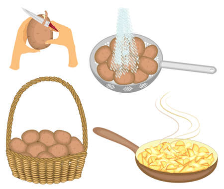 Collection. Potatoes are stored in a basket, washed under running water, cleaned with a knife and fried in a frying pan. Set of vector illustrations.