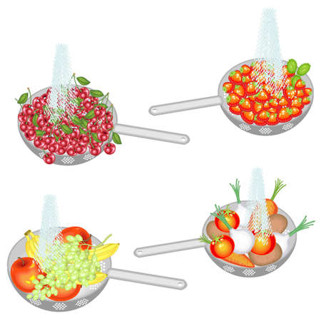 Juicy fruit is washed under running water. Collection of colander wash cherries, strawberries, fruits, vegetables. Fresh fruit should be eaten clean. Vector illustration.