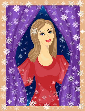 A nice lady looks out the window. The girl is smiling, she is in a good mood. In the street winter, beautiful snowflakes are flying. Vector illustration.  イラスト・ベクター素材