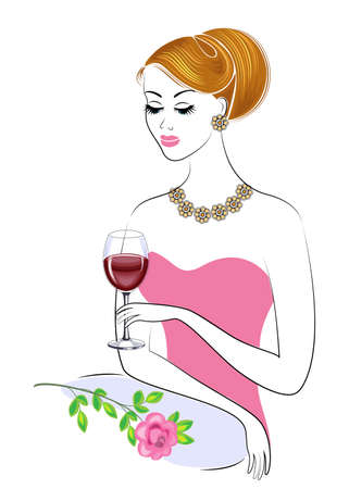 A beautiful lady is sitting at the table. A girl is holding a glass of red wine. There is a rose next to it. A young and beautiful woman. Vector illustration.