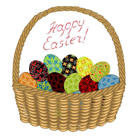 Basket with Easter eggs with painted ornaments. Congratulations on Easter. An ancient tradition of people. Vector illustration.