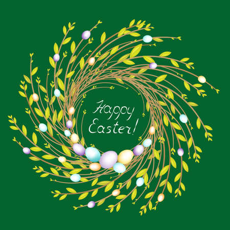 A wreath of young willow branches. Bright beautiful Easter eggs. Symbol of spring and Easter. Vector illustration