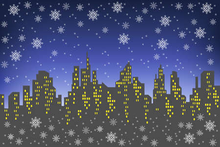 Silhouette of a big city against the background of a dark evening sky. The windows in the houses are lit. It s snowing, a beautiful winter landscape. Vector illustration. Illusztráció