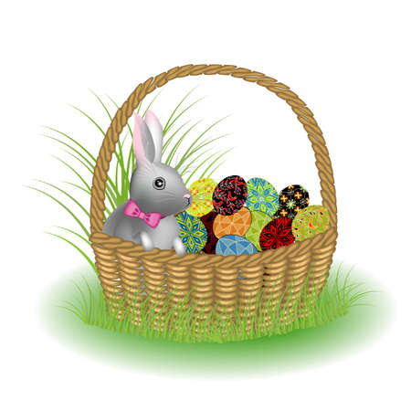 A gray cute rabbit is sitting in a basket with painted Easter eggs. The symbol of Easter in the culture of many countries. Vector illustration.