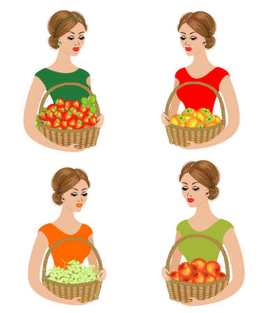 Collection. A sweet lady holds a basket with apples, persimmons, grapes, strawberries. Ripe and sweet fruits. The girl is young and beautiful. Vector illustration set.
