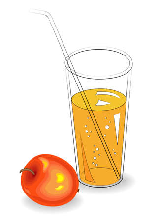 Delicious healthy refreshing drink. In a glass of natural fruit juice, ripe red apple. Vector illustration.