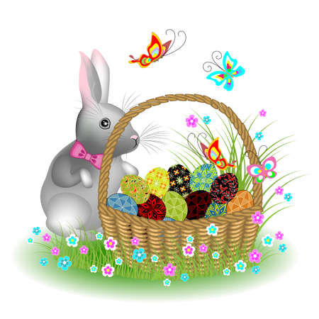 Gray cute rabbit near a basket with Easter eggs. Spring flowers and butterflies. The symbol of Easter in the culture of many countries. Vector illustration.
