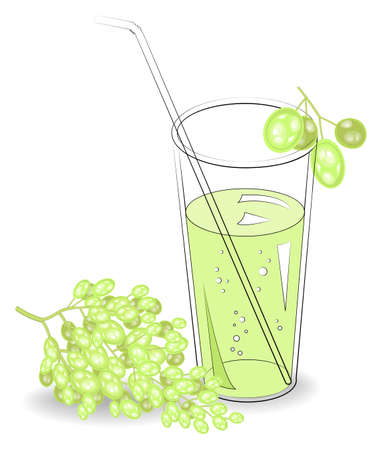 Delicious refreshing drink. In a glass of natural fruit juice, berries of white grapes. Vector illustration.