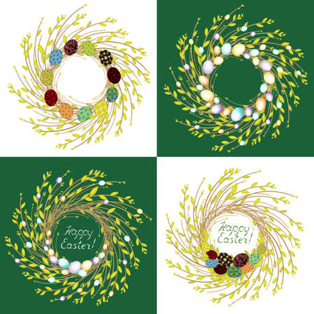 Collection.The wreath of young willow branches. The composition is decorated with beautiful Easter eggs. Symbol of spring and Easter. Vector illustration set. Фото со стока - 122652068