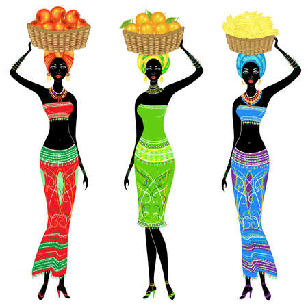 Collection. A slender African-American lady. The girl carries a basket on her head with apples, bananas, oranges. Women are beautiful and young. Vector illustration set.