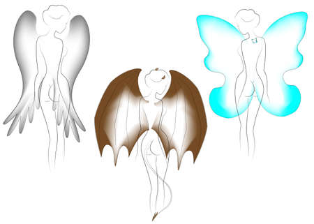 Collection. Silhouette of a naked lady with butterfly, bird and dragon wings. Fantastic image. The girl is slim and feminine. Vector illustration set.