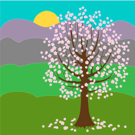 Pretty blooming tree. Sunny day. Spring background. Vector illustration