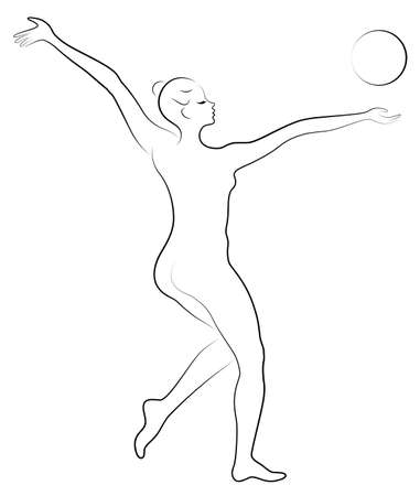 Silhouette of slender lady. The girl plays the ball. Female gymnast. Graphic image. Vector illustration.