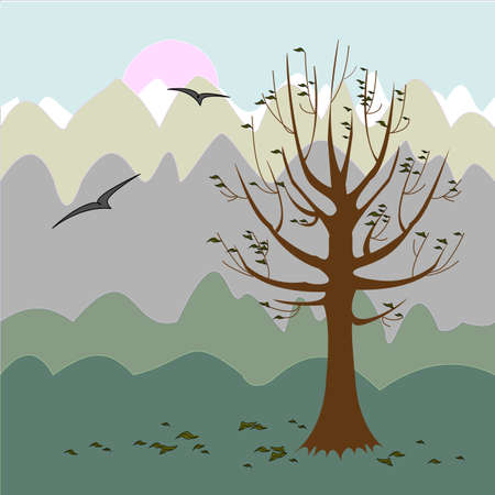 A tree without leaves. Autumn background. Philosophical mood. Vector illustration