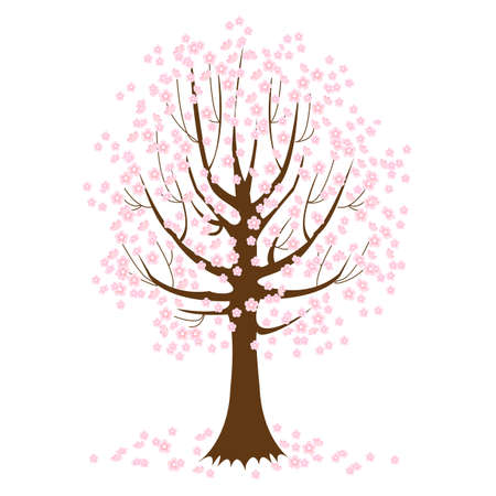 Spring background. Cute blooming tree. Vector illustration Ilustrace