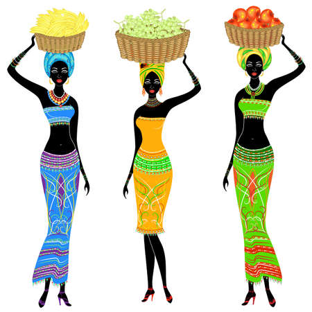 Collection. A slender African-American lady. The girl carries a basket on her head with grapes, bananas, apples. Women are beautiful and young. Vector illustration set.