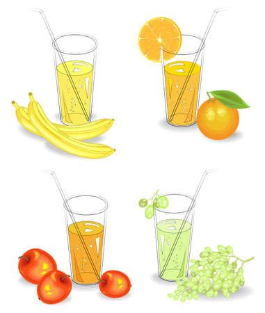 Collection. Glasses of natural fruit juice banana, orange, grapes, apple. Vector illustration set Illusztráció