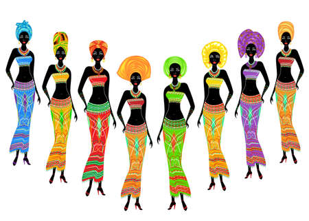 A collection of beautiful African American ladies. Girls have bright clothes, a turban on their heads. Women are young and slim. Vector illustration set. Ilustrace