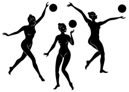 Collection. Silhouette of slender lady. Girl gymnast. The woman is flexible and graceful. She plays the ball. Graphic image. Vector illustration set.