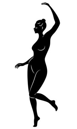 Silhouette of slender lady. Girl gymnast. The woman is flexible and graceful. She is jumping. Graphic image. Vector illustratio. Ilustrace