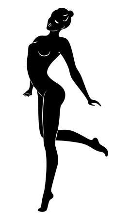 Silhouette of slender lady. Girl gymnast. The woman is flexible and graceful. She is jumping. Graphic image. Vector illustrati Ilustrace