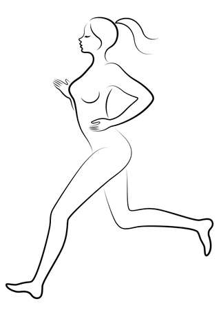 Silhouette of slender lady. The girl is running. A woman goes in for sports. Vector illustration