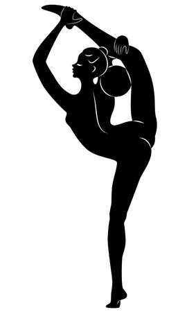 Silhouette of slender lady. The girl plays the ball. Female gymnast. Graphic image. Vector illustration Illustration