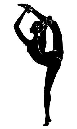 Silhouette of slender lady. Girl gymnast. The woman is flexible and graceful. She is jumping. Graphic image. Vector illustration
