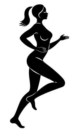 Silhouette of slender lady. The girl is running. The woman goes in for sports, strengthens health. Vector illustration.