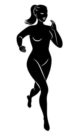 Silhouette of slender lady. The girl is running. The woman goes in for sports, strengthens health. Vector illustration Ilustrace