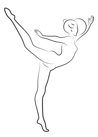 Silhouette of slender lady. The girl plays the ball. Female gymnast. Graphic image. Vector illustration Ilustrace