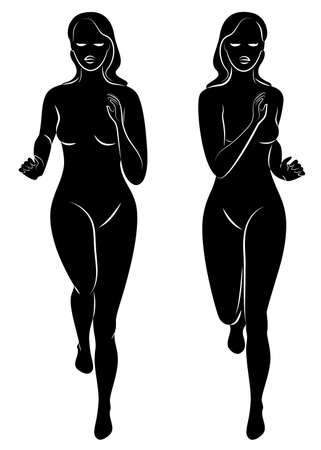 Collection. Silhouette of slender lady. The girl is running. The woman goes in for sports, strengthens health. Vector illustration set.