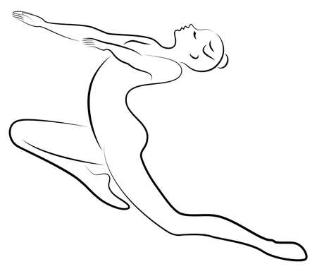 Silhouette of slender lady. Girl gymnast. The woman is flexible and graceful. She is jumping. Graphic image. Vector illustration.