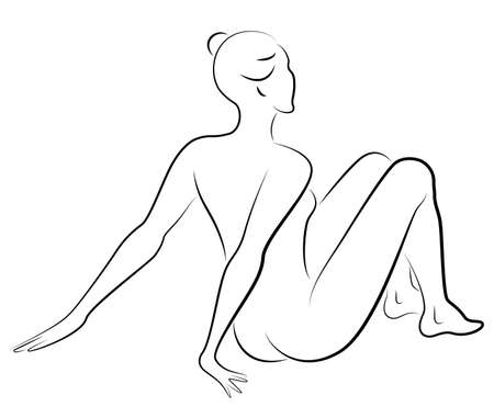 Silhouette of a sweet lady, she is sitting. The girl has a beautiful nude figure. The woman is young and slim. Vector illustration.