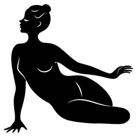 Silhouette of slender lady. Girl gymnast.  Graphic image. Vector illustration.