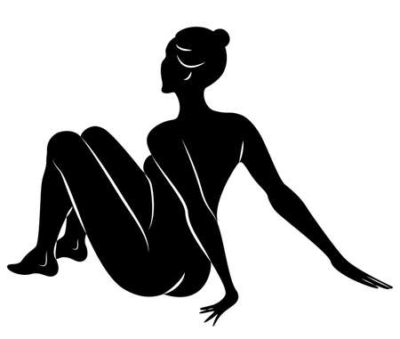 Silhouette of slender lady. Girl gymnast. The woman is flexible and graceful.