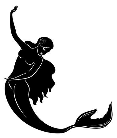 Silhouette of a mermaid. Beautiful girl is floating in the water.