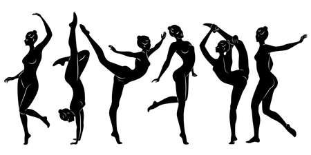 Collection. Silhouette of slender lady. Girl gymnast. The woman is flexible and graceful. She is jumping. Graphic image. Vector illustration set. Stock Illustratie
